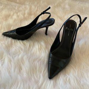 """Linea Paola Black Slingback 4"""" Heels size 9"""